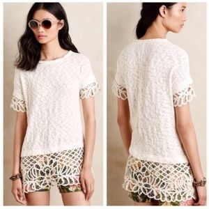 ANTHROPOLOGIE Spalliera Lace Tunic Top Size Small